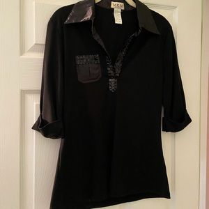 Black Satin Collared Tee with Sequin Details